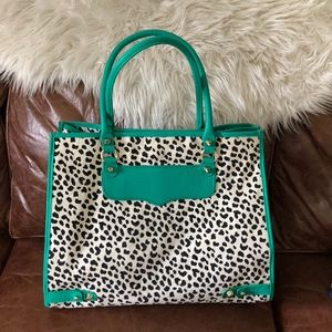 Rebecca Minkoff leopard canvas/teal leather tote
